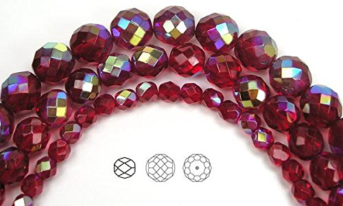 12mm (34 beads) Siam AB, Czech Fire Polished Round Faceted Glass Beads, 16 inch strand