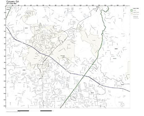 Amazon.com: ZIP Code Wall Map of Conyers, GA ZIP Code Map