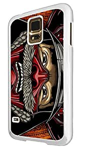 1100 - cool fun samurai head illustration ancient art helmet japanese chinese fighters Design For Samsung Galaxy S5 Mini Fashion Trend CASE Back COVER Plastic&Thin Metal - White