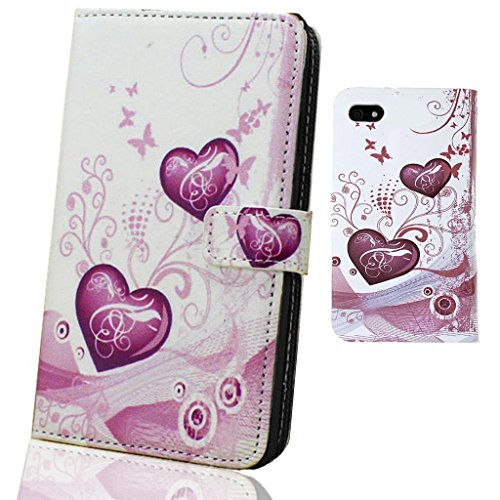 Mobile Case Mate Apple iPhone 5 élégant PU Cuir Coque Case portefeuille Wallet Housse Cover Rose White Coeur With Credit Card Slots