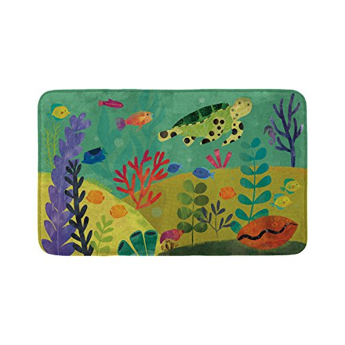Mouse + Magpie Bath Mat, Skid-Proof, Memory Foam, Soft, Quick-Dry Microfiber, 31''x19'' for Toddler, Kid, Child Bathroom, Sea Turtle Reef by Mouse + Magpie (Image #5)