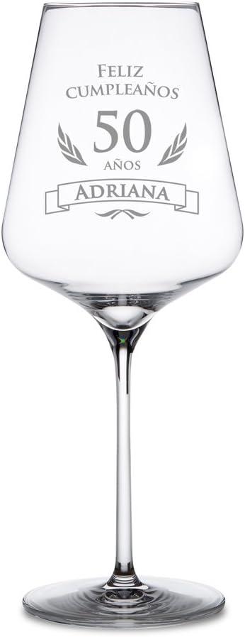 AMAVEL Copa de Vino Tinto para el 50 Cumpleaños Personalizada Feliz Cumpleaños Copa de Cristal Capacidad 644 ml
