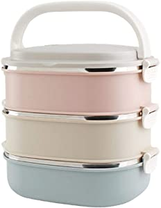 Stainless Steel Lunch Box,Multi-Layer Thermal Insulated Food Storage Container, Used for Picnic in School Office Outdoor, 2.4L