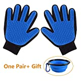 Oubest Pet Grooming Gloves 1 Pair/Gentle Pet Deshedding Gloves/Hair Remover for Massaging Bathing Dogs & Cats with Enhanced Five-Finger Design with 1 Bonus Collapsible Pet Travel Bowl