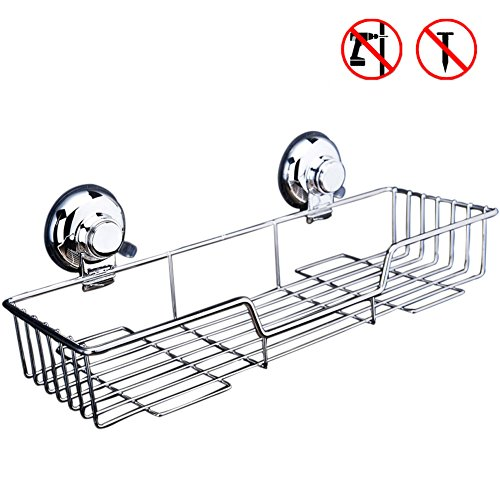 Treat Me Stainless Steel Shower Caddy Storage Basket Super Strong Suction Cups Bathroom Shelves with Wall Mounted
