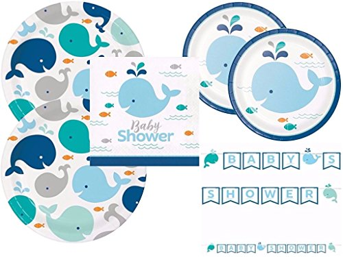- Lil' Spout Blue Whale Baby Shower Plates, Napkins and Banner for 16 Guests