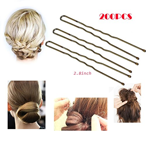 200Pcs,Professional Golden Bobby Pins U Shape Hair Pins for Women Girls and Hairdressing Salon Doubtless Bay (2.8 Inches)
