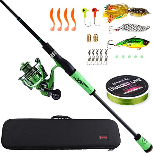 Sougayilang Ultralight Fishing Rod Reel Combos Portable Light Weight High Carbon 4 Pc Travel Fishing Pole Fishing Reel -2.1M/6.89FT Spinning Rod GB2000 Reel with Case (Best Ultralight Rod And Reel)