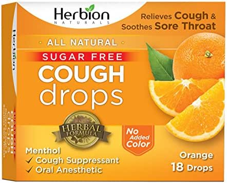Herbion Naturals Sugar-Free Cough Drops with Natural Orange Flavor, 18 Drops, Oral Anesthetic - Relieves Cough, Throat, and Bronchial Irritation, Soothes Sore Mouth, For Adults and Children 2yo+