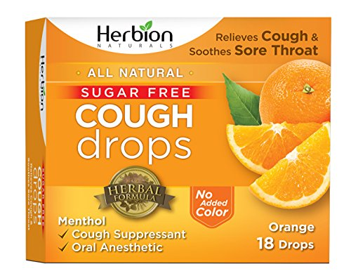 Herbion Naturals Sugar-Free Cough Drops with Natural Orange Flavor, 18 Drops, Oral Anesthetic - Relieves Cough, Throat, and Bronchial Irritation, Soothes Sore Mouth, For Adults and Children - Malabar Nut