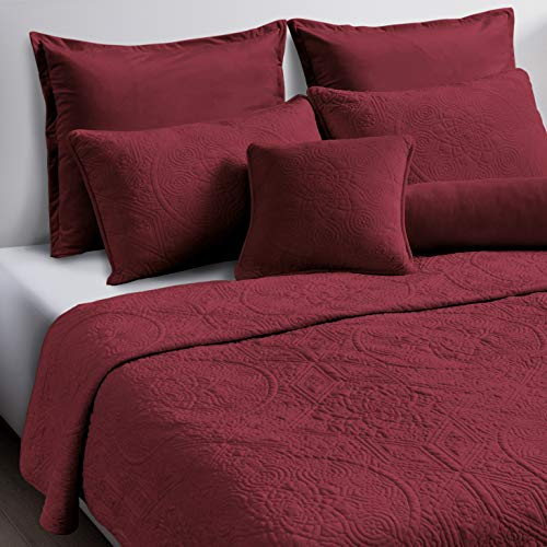 Maison Atlas Velvet Quilt Set, Charlotte Premium Velvet Collection, Cotton Backing, Cotton Batting, Twin, Burgundy (Velvet Collection Red)