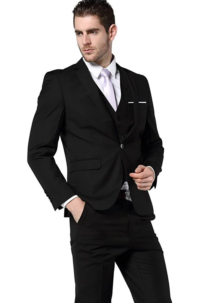 fa948b364be80 MOGU Men's Slim Fit 3 Piece Dress Suits Prom Dress Suit Set at Amazon Men's  Clothing store: