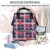 Diaper Bag Red Sox Plaid Print Mom Dad Bag Large
