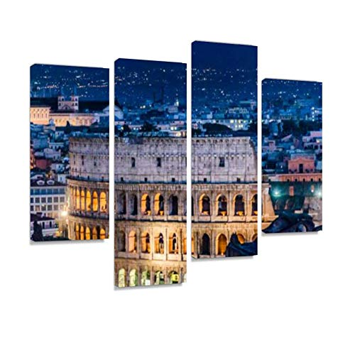 Coliseum Aerial View Night Scene, Rome Canvas Wall Art Hanging Paintings Modern Artwork Abstract Picture Prints Home Decoration Gift Unique Designed Framed 4 Panel