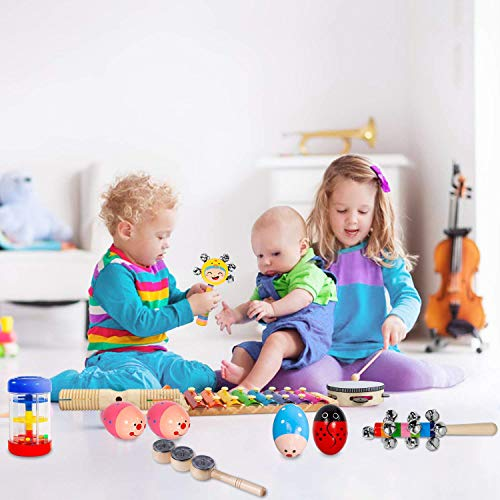Toddler Musical Instruments- LEKETI 15 Types 22pcs Wooden Toddler Musical Percussion Instruments Toy Set for Kids Preschool Educational, Early Learning Musical Toys Set for Boys and Girls with Storage by LEKETI (Image #4)
