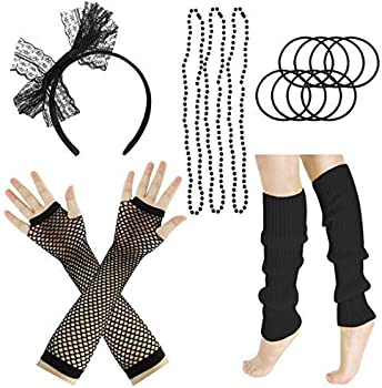 80/'S Outfit Costume Accessories Set Neon Earrings Leg Warmers Fishnet Gloves Q