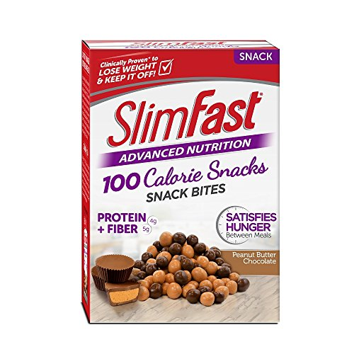 SlimFast Advanced Nutrition 100 Calorie Snack Bites, Peanut Butter Chocolate, 0.81oz. Bag (Pack of 5) 100 Calorie Snack Pack