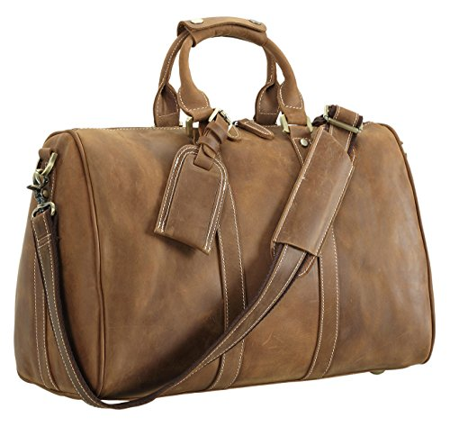 Polare Full Grain Leather Classic Duffel Bag Travel Gym Weekend Bag 17.3'' by Polare