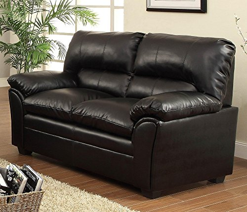 Homelegance 8511BK-2 Talon Contemporary Loveseat Bonded Leather, Black