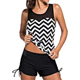 Women Tankini Sets Boyleg Swimming Costume Ladies Two Piece Swimsuits Top and Shorts Swimwear Sets (XL, Black)