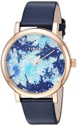 Crystal Bloom Gold Floral Leather Strap Watch