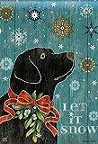 Let it Snow Lab House Flag Labrador Retriever Black Lab Winter Dog 28