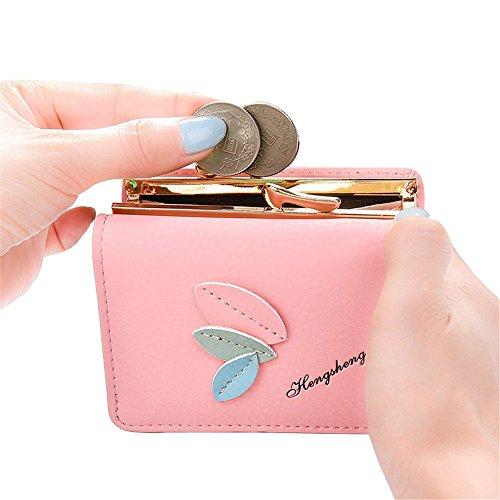 Lovely rabbit Trois Feuilles décorent Short Zero Wallet Little Coin Money Bag (Color : Pink) Pink