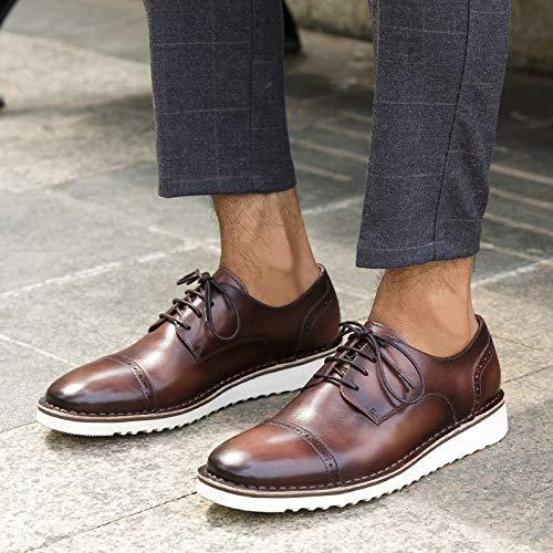 Black en Lacets Color Brown en Bullock pour véritable 39 décontractées Main Oxford Cuir Size Chaussures la Cuir à Hommes à MXNET EU 5CBxTOwqO