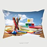 roho cushion toilet seat Custom Satin Pillowcase Protector Education, School Supplies, Art, Creativity And Object Concept Close Up Of Stationery On Wooden Table Over Blue Sky And Clouds Background_61638695 Pillow Case