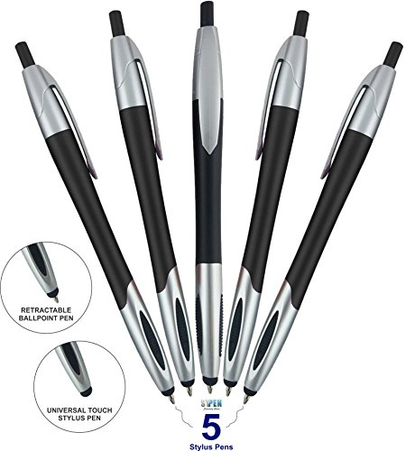 Stylus Pen,Capacitive Stylus & Ballpoint Click Pen with Comfort Grip For Universal touchscreen Devices, Tablets,iPad, iPhone 6,6 Plus, iPod, Android,Samsung Galaxy (Black 5 Pack)