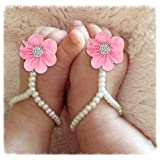 Baby Sandals,LISINGTOOL 1Pair Infant Pearl Chiffon Barefoot Flower Beach Sandals Pink