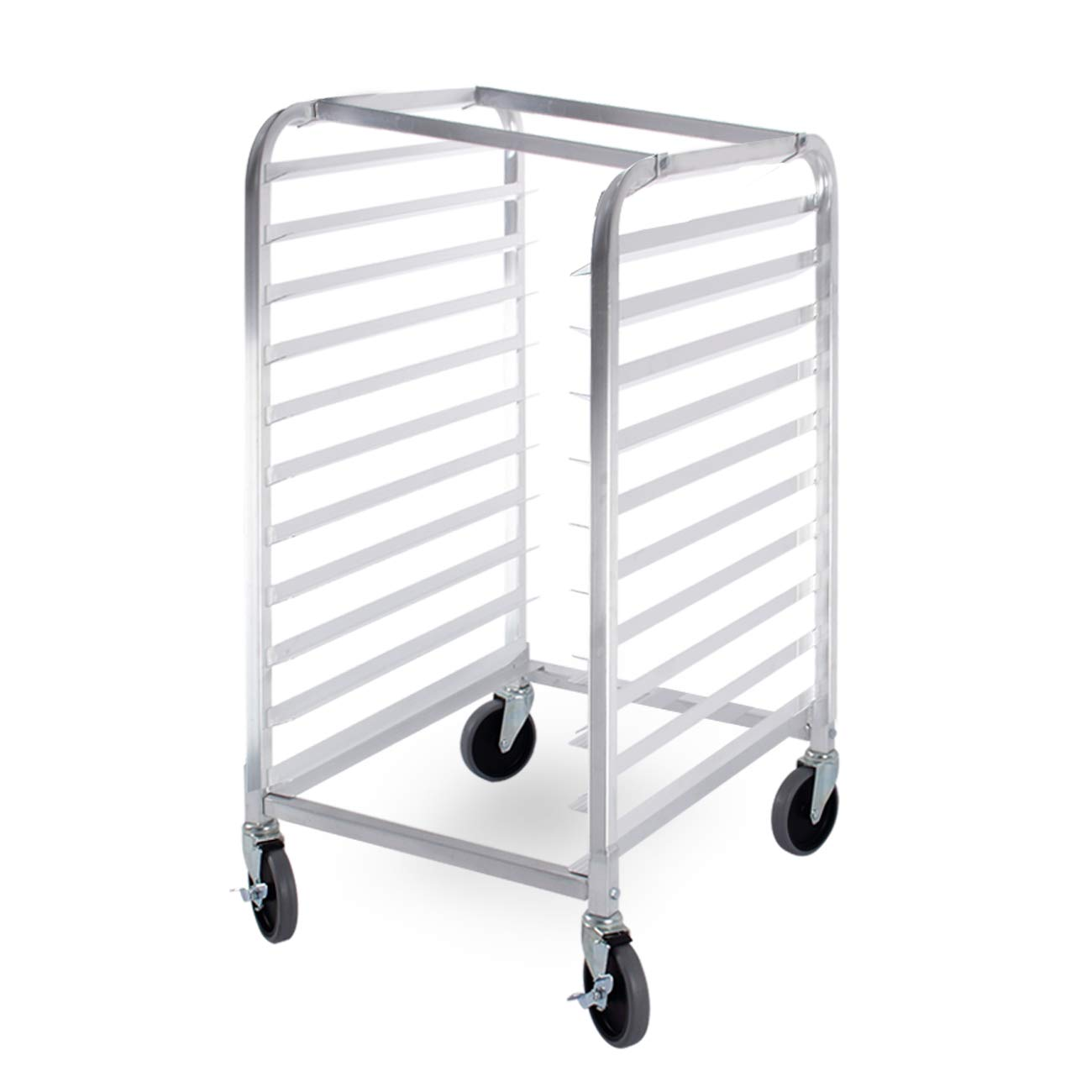 ARKSEN Commercial Kitchen 10 Tier Bun Pan Half Height Rack Sheet Aluminum w/Brake Wheels