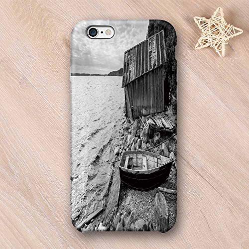 Black and White Decor No Odor Compatible with iPhone Case,Old Wooden Fishing Boat and Abandoned Barn on Lake Coastal Charm Picture Compatible with iPhone 7/8 Plus,iPhone 6/6s - Coastal Beans