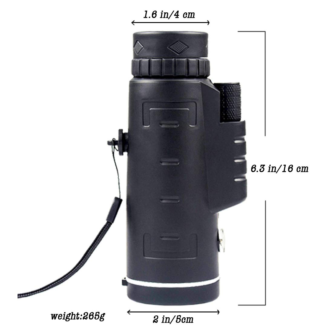 Monocular Telescope Lightweight Portable Design for Bird Watching Hunting Camping Hiking Travelling Sports Bak4 Prism Compass Monocular for Mobile Camera with Phone Photography Adapter and Tripod