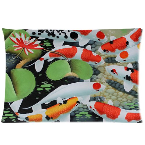 [Koi Fish Water Lily Art Wallpaper Custom Rectangle Pillowcase Pillow Cover] (Diy College Girl Halloween Costumes)