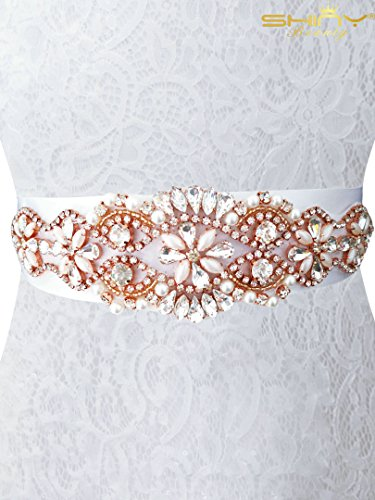 Pink Rose Gold Trim (Rhinestone Trim Rose Gold Rhinestone Trim for Dress Bridal Sash Applique 333)
