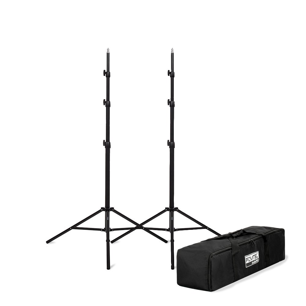 Fovitec - 1x 8'3'' Photography & Video Light Stand Kit - [for Lights, Reflectors, Modifiers][Collapsible][Spring Cushioned][Ergonomic Knobs][Carrying Bag Included] by Fovitec