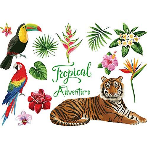 LISRUI Creative Wall Decal Wallpaper Jungle Animal Tropical Tiger Home Decor PVC Mural Art (Jungle Wall Accent Decor Murals)