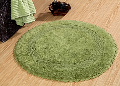 Saffron Fabs Bath Rug 100% Soft Cotton 36 Inch Round, Reversible-Different Pattern On Both Sides, Solid Sage Green Color, Hand Knitted Crochet Lace Border, Hand Tufted 200 GSF Weight, Machine Washable