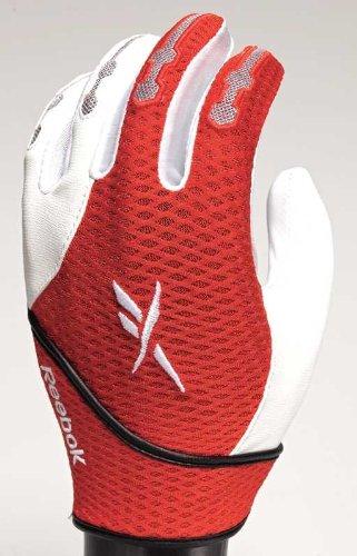 Reebok VR6000-CL Series Adult Baseball Batting Gloves (White/Red, Large)