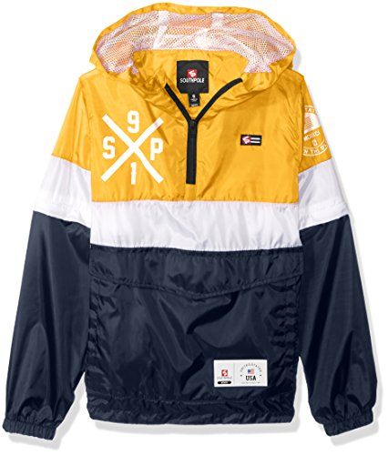 Southpole Boys' Big Anorak Colorblock Water Resistance Hooded Pullover, Yellow/Zip Off Sleeve Large