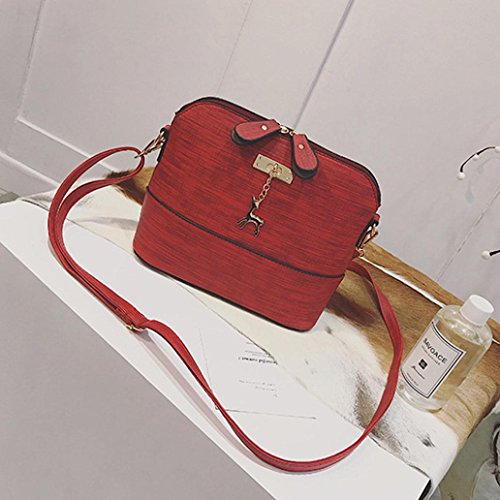 Umhängetasche Frauen Vintage,Hunpta Frauen Messenger Bags Vintage kleine Shell Leder Handtasche Casual Packet Rot