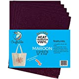 """(5) 12"""" x 9.8"""" Sheets Craftables Maroon Glitter Heat Transfer Vinyl, HTV - Sparkling Easy to Weed Tshirt Iron on Vinyl for Silhouette Cameo, Cricut, all Craft Cutters. Ships Flat, Guaranteed Size"""