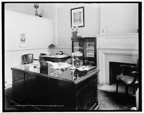 Photo: President's room,34th Street National Bank,offices,desks,New York City,NY,1900 -