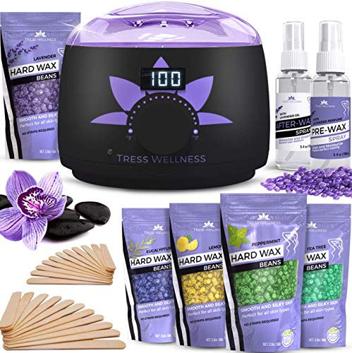 Home Waxing Kit Wax Warmer - 2019 Model (Digital Display) - 47 Accessories (Best Wax Heater For Home)