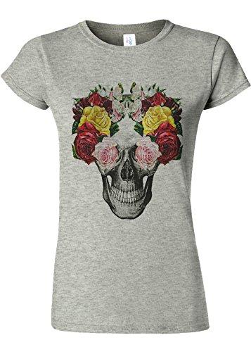 おそらくエンジンサーバFloral Skull Roses Vintage Novelty Sports Grey Women T Shirt Top-XL