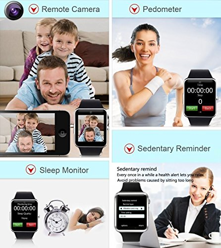 321OU Smart Watch Fitness Tracker Bluetooth Smart Watch Smartwatch Phone Fitness Tracker SIM SD Card Slot Camera Pedometer iPhone iOS Samsung LG Android Men Women Kids (New Black) by 321OU (Image #3)