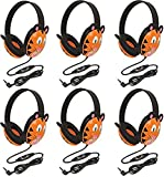 Califone 2810-TI Tiger Motif Listening First Stereo Headphone (Pack of 6), Adjustable Headband Comfortable for Extended Wear, Specifically Sized for Young Children