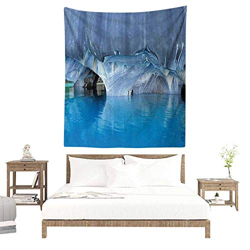 alisoso Wall Tapestries Hippie,Blue,Marble Cave General Carrera Lake in Chile Natural Wonders Rocks Azure Water,Blue Purplegrey White W57 x L74 inch Tapestry Wallpaper Home Decor