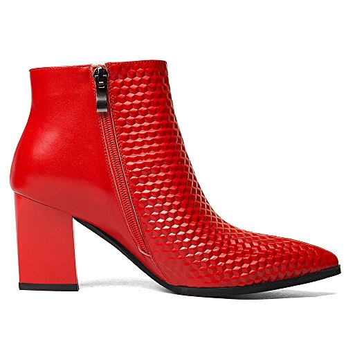 Genuine Women's Pointed Booties Classy Nine Toe Seven Handmade Ankle Chunky Office Red Heel Leather Tq5nwFU
